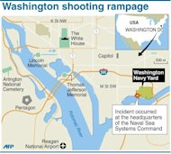 Map of Washington locating the Washington Navy Yard where at least one gunman opened fire