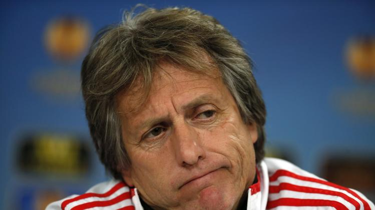 Benfica's coach Jorge Jesus attends a news conference at Luz stadium in Lisbon