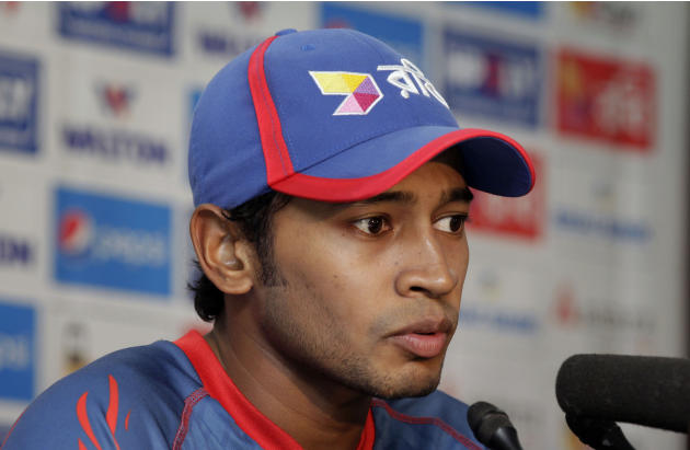 Bangladesh's captain Mushfiqur Rahim addresses a press conference ahead of their second test cricket match against South Africa in Dhaka, Bangladesh, Wednesday, July 29, 2015. The match is scheduled t
