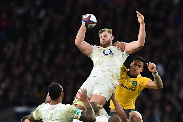 England's lock George Kruis wins a high ball during the international rugby union test match between England and Australia at Twickenham stadium in south-west London on December 3, 2016