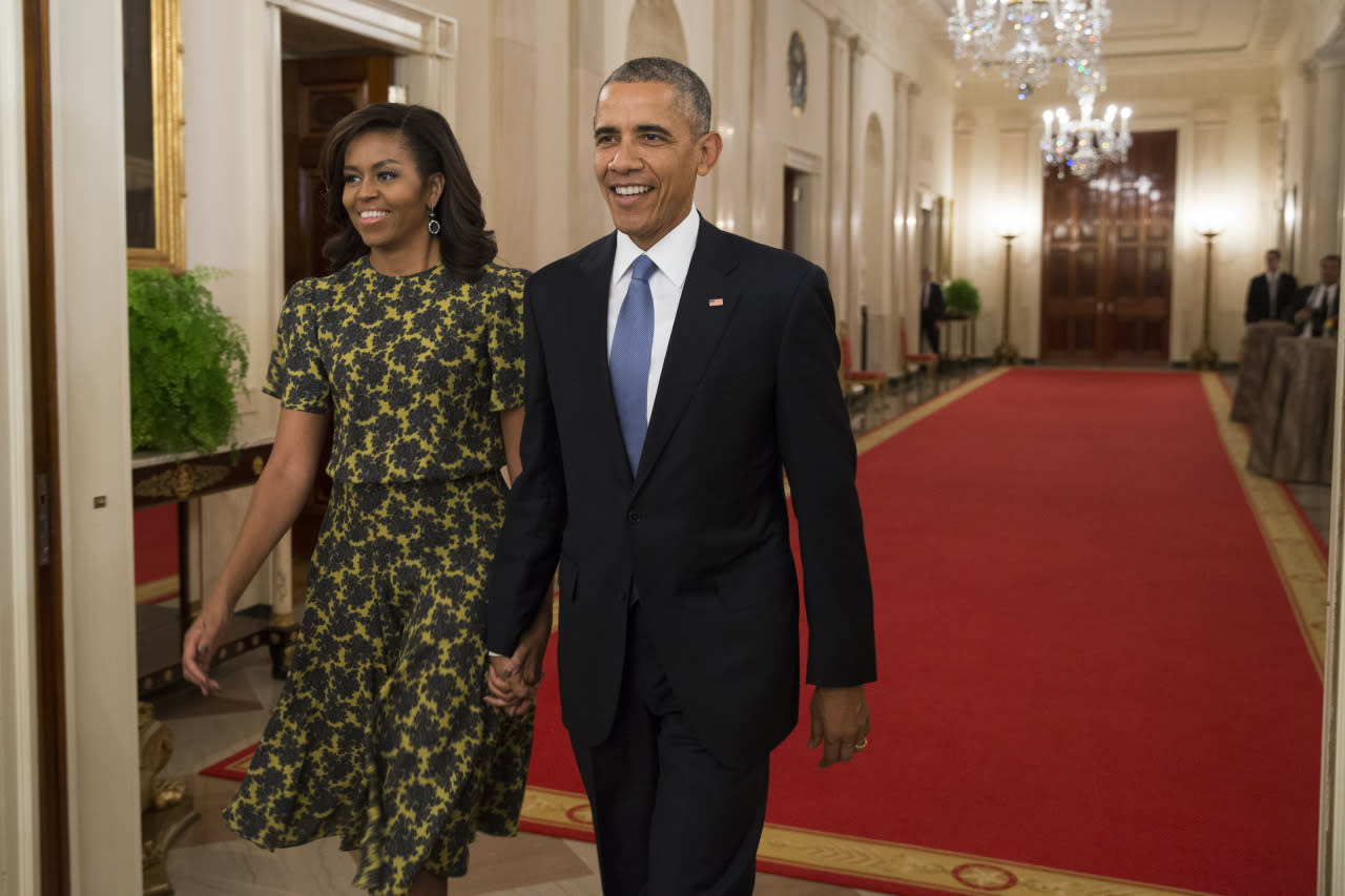 Michelle Obama's a Green Gladiator in a Michael Kors Dress