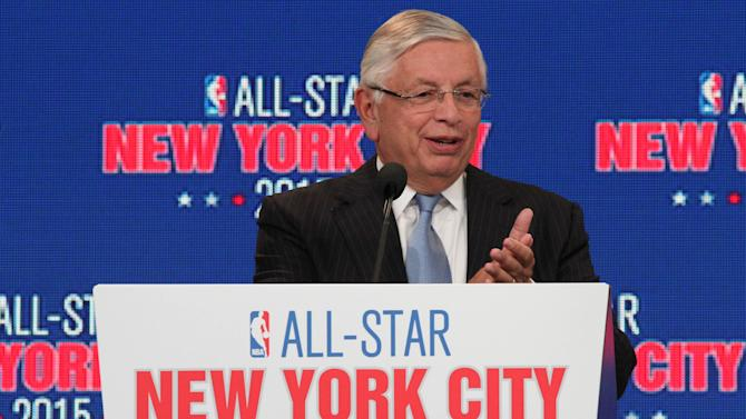 NBA commissioner David Stern applaudes during a press conference Wednesday Sept. 25, 2013, in New York, announcing the selection of the city to host the NBA All-Star game in 2015. The 64th NBA All-Star game is scheduled to be played at New York's Madison Square Garden Sunday Feb. 15, 2015 with Friday and Saturday night events being held at the Barclays Center in the Brooklyn borough of New York