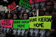 Protesters in London on October 5, 2013 demand the release of freelance British videographer Kieron, detained in Russia as a Greenpeace activist