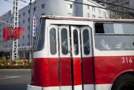 In this April 15, 2011 photo, a city tram carries passengers in Pyongyang, North Korea. (AP Photo/David Guttenfelder)