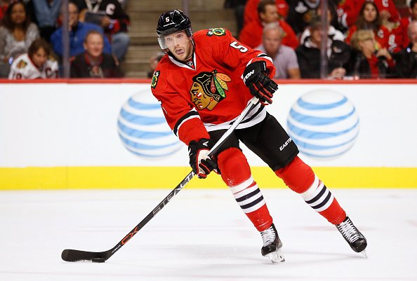 CHICAGO, IL - OCTOBER 07: David Rundblad #5 of the Chicago Blackhawks plays in the game against the New York Rangers at the United Center on October 7, 2015 in Chicago, Illinois. (Photo by Steve Woltmann/NHLI via Getty Images)
