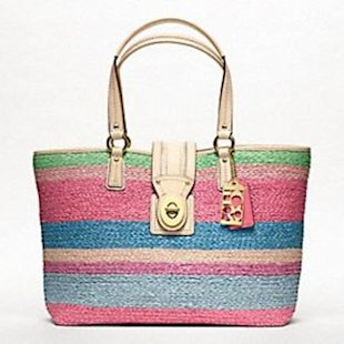 Coach Hamptons weekend stripe straw medium tote