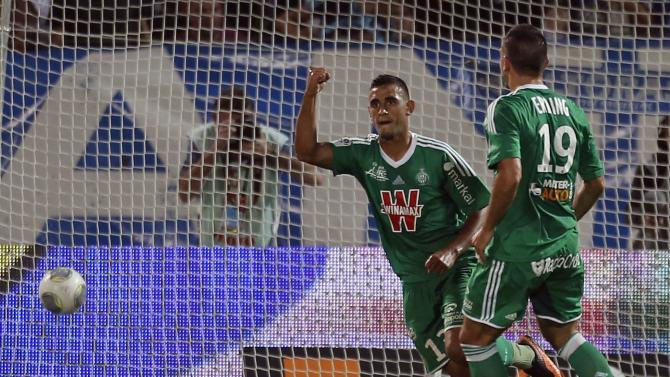 Saint Etienne's Ghoulam celebrates scoring against Olympique Marseille during French Ligue 1 soccer match in Marseille
