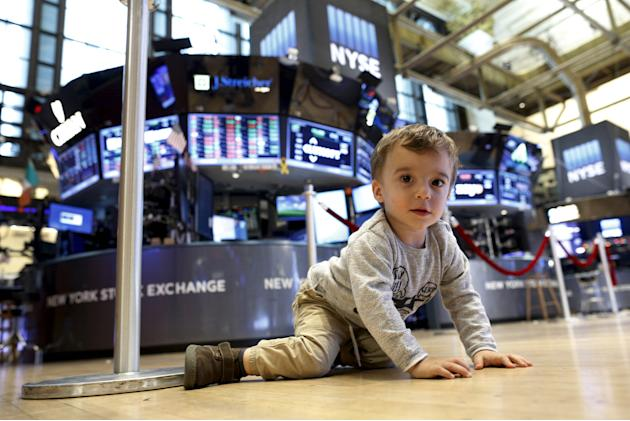 Joseph De Paola plays on the floor of the New York Stock Exchange just after the closing bell