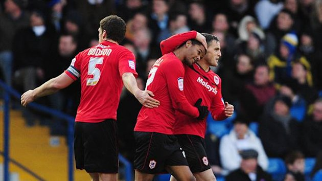 Fraizer Campbell's, centre, debut goal for Cardiff was enough to claim three points at Leeds