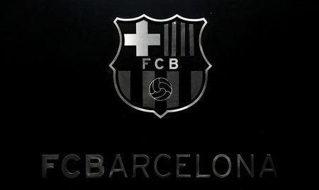 FC Barcelona's logo is seen during a news conference