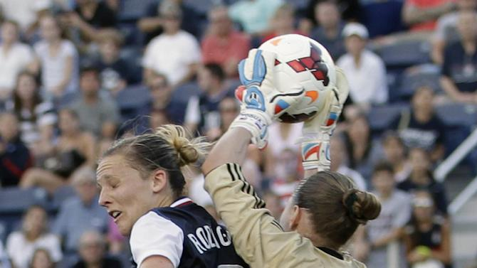 Russia goalkeeper Elvira Todua (1) stops a shot as United State' Amy Rodriguez (8) is unable to head the ball during an international friendly soccer match in Boca Raton, Fla., Saturday, Feb. 8, 2014. The U.S. won 7-0