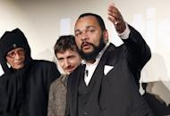 "This file photo shows controversial French comic Dieudonne (R), next to members of his film unit prior to the premiere screening of his movie ""The Anti-Semite,"" in January, in Paris. The Cannes film festival has scrapped the screening of the film, according to an official"