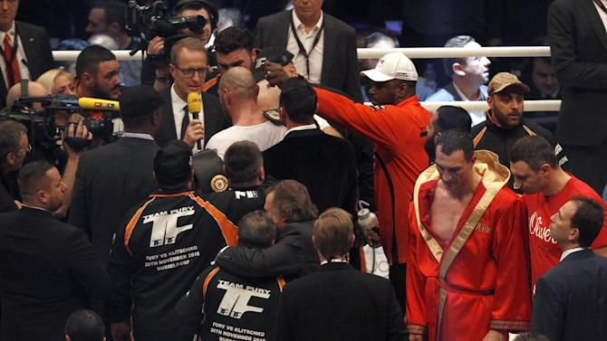 Tyson Fury is interviewed after winning the fight