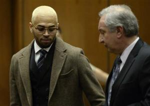 Chris Brown and attorney appear in court during a probation violation hearing in Los Angeles