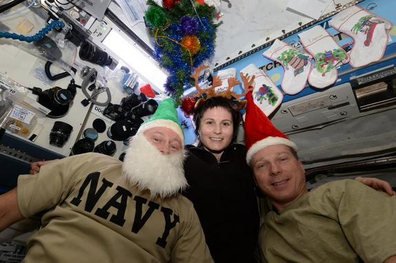 Astronauts Deck the Zero-G Halls for Space Station Christmas