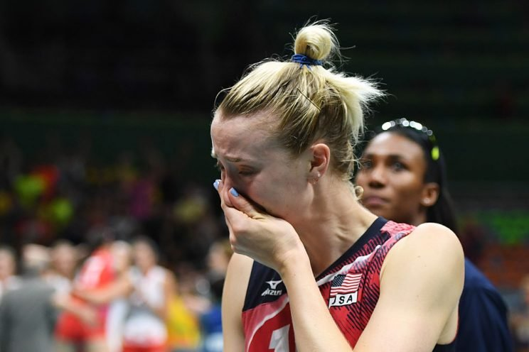 USA's Kimberly Hill cries after losing the women's semi-final volleyball match against Serbia at the Maracanazinho stadium in Rio de Janeiro on August 18, 2016, during the Rio 2016 Olympic Games. / AFP / Eric FEFERBERG (Photo credit should read ERIC FEFERBERG/AFP/Getty Images)