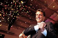 Mayor of the Argentinian town of Tigre, Sergio Massa, of the 'Renewal Front' party, is seen celebrating his win in legislative elections on October 27, 2013, in a photo released by his press office