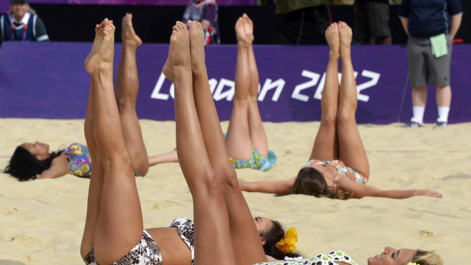 Cheerleaders perform at Centre Court of