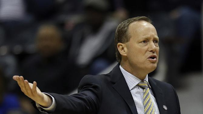 Atlanta Hawks head coach Mike Budenholzer reacts to a foul in the second half of an NBA basketball game against the Orlando Magic, Saturday, Nov. 9, 2013, in Atlanta. Atlanta won 104-94