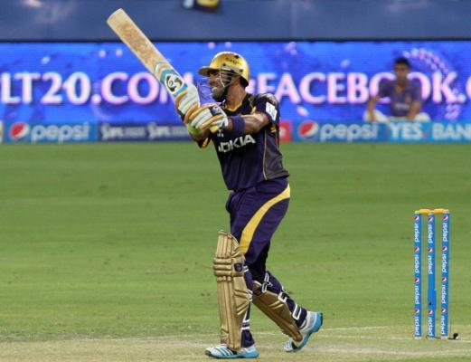 KKR player Robin Uthappa in action during the sixth match of IPL 2014 between Delhi Daredevils and Kolkata Knight Riders, played at Dubai International Cricket Stadium in Dubai of United Arab Emirates