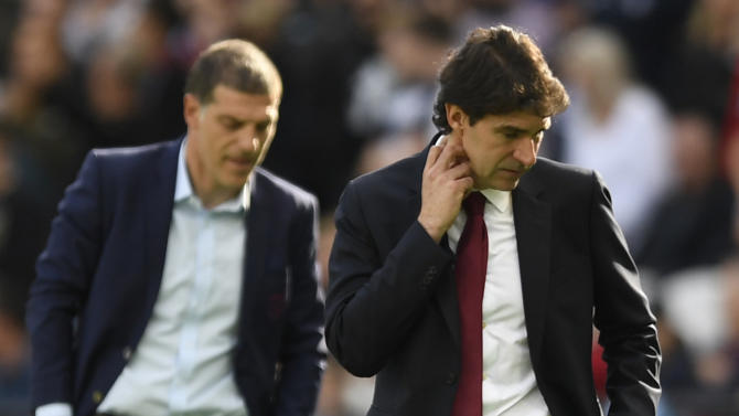 Middlesbrough manager Aitor Karanka and West Ham United manager Slaven Bilic