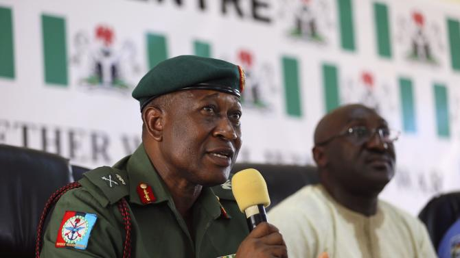 Nigeria's Major General Olukolade addresses the media on updates of the abducted schoolgirls from Chibok, in Abuja