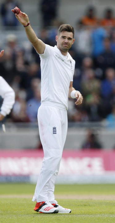 England's James Anderson celebrates dismissing Australia's Mitchell Johnson (not pictured) and taking five wickets in the innings