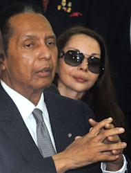 """Former Haitian president Jean-Claude """"Baby Doc"""" Duvalier arrives on Febuary 28, 2013 in court in Port-au-Prince. Duvalier angrily defended his rule Thursday at a hearing on whether he can be charged with crimes against humanity"""