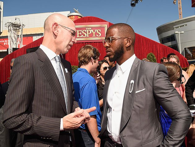 Adam Silver and lead players' rep Chris Paul. (Getty Images)