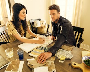 Justin Timberlake and Estee Stanley working on their new collection, HomeMint. Photograph by Peggy Sirota