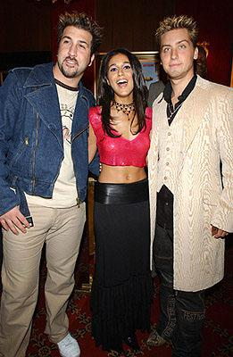 Premiere: Joey Fatone, Emmanuelle Chriqui and Lance Bass at the New York premiere of On The Line - 10/9/2001