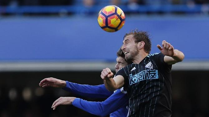 West Bromwich Albion's Craig Dawson in action with Chelsea's Marcos Alonso