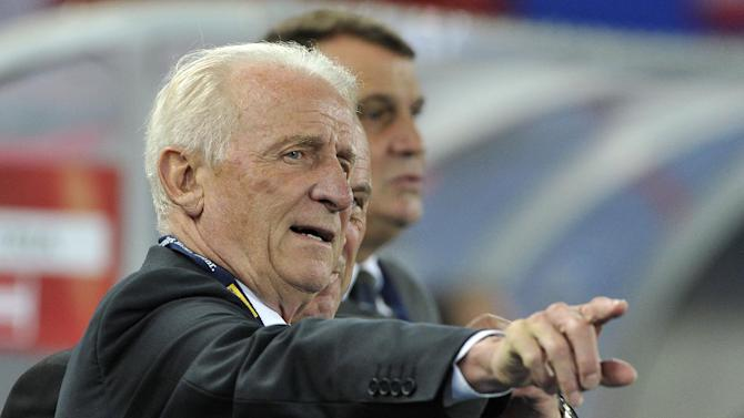 Ireland's head coach Giovanni Trapattoni of Italy reacts during the World Cup 2014 qualification group C soccer match between Austria and Ireland in Vienna, Austria, on Tuesday, Sept. 10, 2013