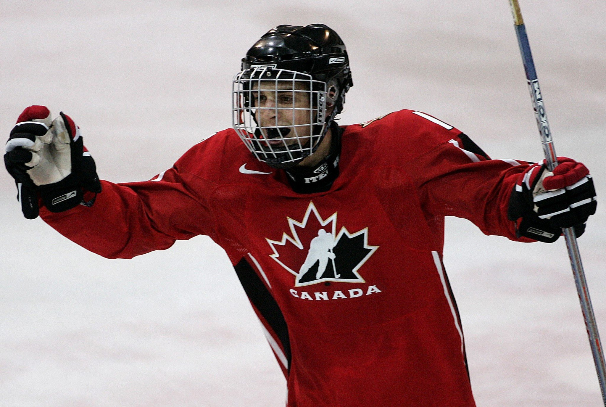 Canada's Brandon Sutter celebrates a goal against Switzerland during their U18 Memorial of Ivan Hlinka game. (CP Photo)