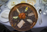 In this March 10, 2011 photo, a bowl of traditional North Korean cold noodles, known as Naengmyeon, sits on a restaurant table in Pyongyang, North Korea. (AP Photo/David Guttenfelder)