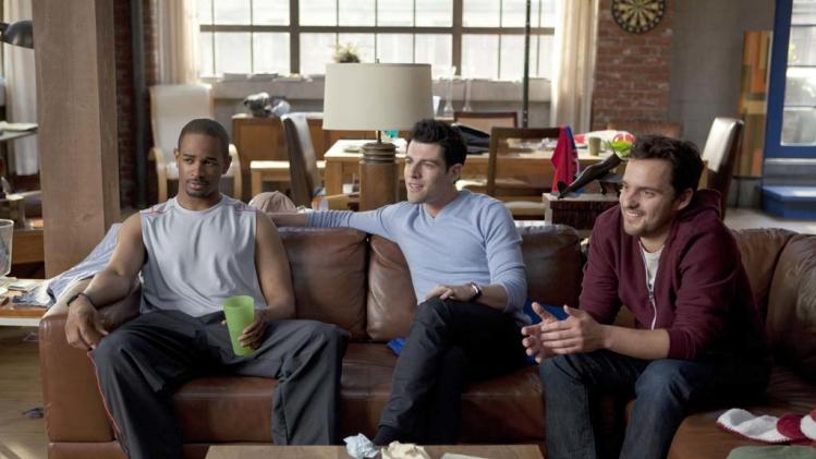 "Damon Wayans Jr., Max Greenfield, and Jake Johnson in ""New Girl."""