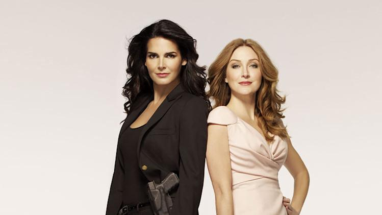 "Angie Harmon stars as Jane Rizzoli and Sasha Alexander stars as Maura Isles in ""Rizzoli & Isles."""