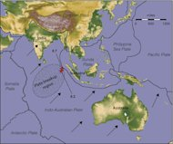 A map of the Indian Ocean region shows boundaries of Earth's tectonic plates in the area, and the epicenters (red stars) of two great earthquakes that happened April 11, 2012.