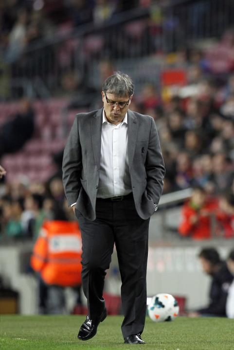 "Barcelona's Gerardo ""Tata"" Martino reacts during their La Liga soccer match against Athletic Bilbao at Camp Nou stadium in Barcelona"
