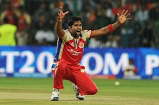Vinay Kumar of RCB celebrating after the wicket of Rajasthan Royals during the RCB V/S Rajasthan Royals IPL T-20 match at Chinnaswamy Stadium, in Bangalore on Saturday 20th of April 2013