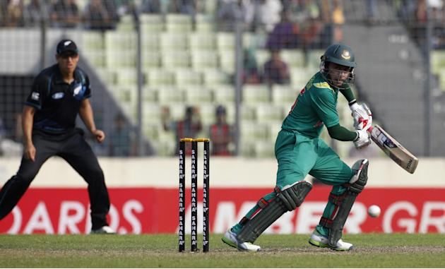 Bangladesh's captain Mushfiqur Rahim plays a shot against New Zealand during their first ODI cricket match in Dhaka
