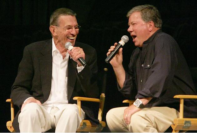 Leonard Nimoy (L) and William Shatner, the actors who portrayed Science Officer Mr Spock and Capt James T Kirk, respectively, in the original Star Trek television series, recall memories of filming th