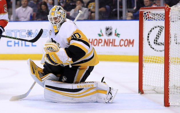 SUNRISE, FL - DECEMBER 08: Matt Murray #30 of the Pittsburgh Penguins makes a save during a game against the Florida Panthers at BB&T Center on December 8, 2016 in Sunrise, Florida. (Photo by Mike Ehrmann/Getty Images)