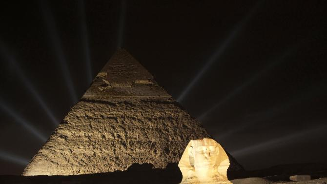 General view of the pyramids during the opening of the Copa Coca-Cola Cup in Egypt at the Giza Pyramids plateau