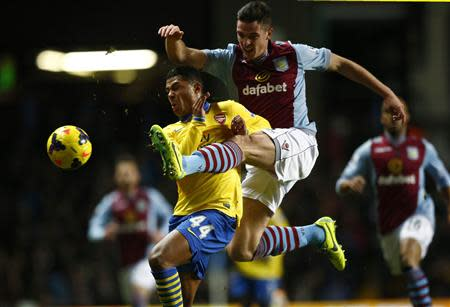 Aston Villa's Clark challenges Arsenal's Gnabry during their English Premier League soccer match in Birmingham