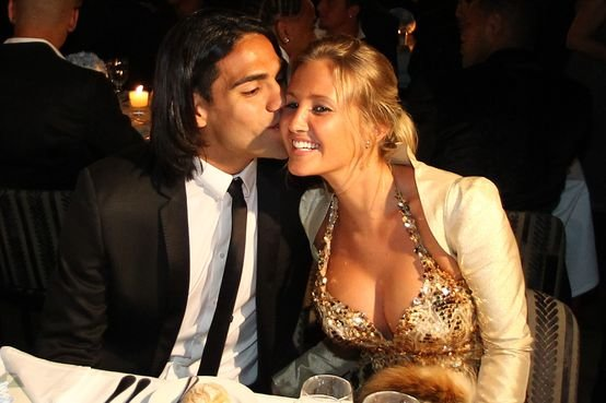 Radamel Falcao with his wife Lorelai Taron.