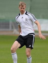 Germany's Per Mertesacker during a training session in Gdansk on June 7. Mertesacker, who surived an injury scare in training on Thursday, has said the German defence must keep a close eye on Cristiano Ronaldo