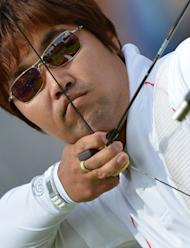 Im Dong Hyun of South Korea competes in the men's archery individual elimination event on day 3 of the London 2012 Olympic Games at Lord's Cricket Ground on Monday. Legally blind archer Im set the first world record of the London Olympics on Friday and then added another as South Korea broke the team record