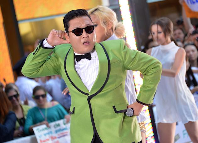 "NEW YORK, NY - SEPTEMBER 14: South Korean rapper Psy performs on NBC's ""Today"" at Rockefeller Plaza on September 14, 2012 in New York City. (Photo by Mike Coppola/Getty Images)"