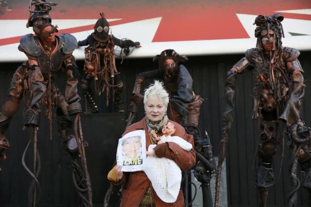 British fashion designer Westwood attends an unveiling of a billboard against fracking in central London